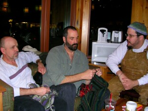 Gary, Witt and I at one of the early DC MenKnit nights.